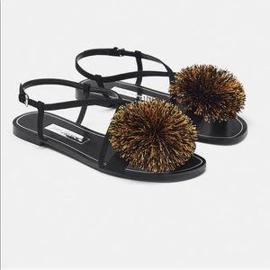 Zara flat black sandals with gold Pom Pom size 6.5